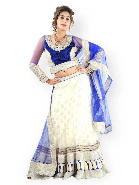Triveni Cream-Coloured Embroidered Net Lehenga Choli