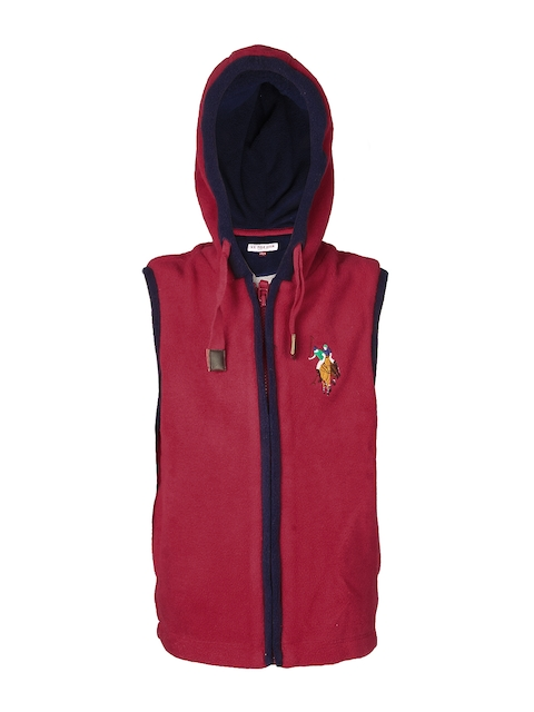 U.S. Polo Assn. Kids Boys Red Sleeveless Hooded Jacket