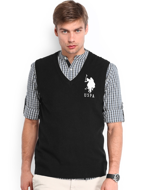 U.S. Polo Assn. Men Black Woollen Sweater