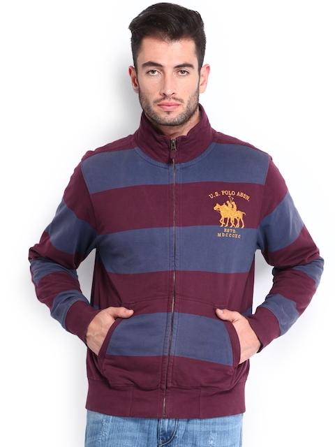 U.S. Polo Assn. Men Blue & Maroon Striped Sweatshirt