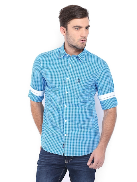 U.S. Polo Assn. Men Blue & White Checked Tailored Fit Casual Shirt