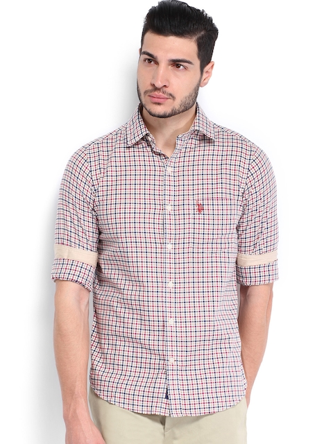 U.S. Polo Assn. Men White & Pink Checked Tailored Fit Casual Shirt