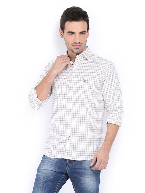U.S. Polo Assn. Men White & Maroon Checked Tailored Fit Casual Shirt