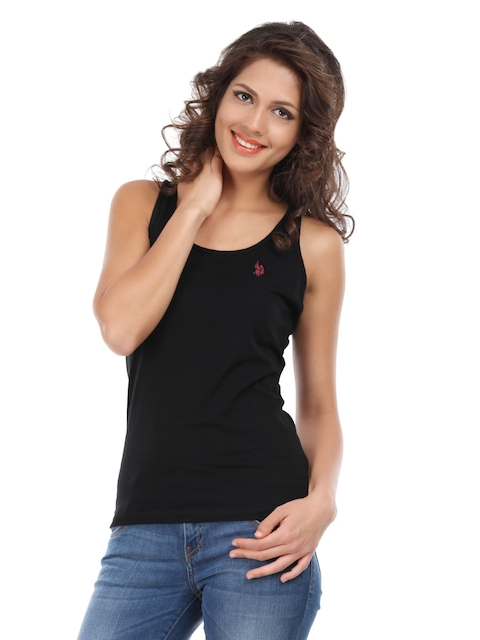 U.S. Polo Assn. Women Black Sportswear T-Shirt  available at myntra for Rs.449