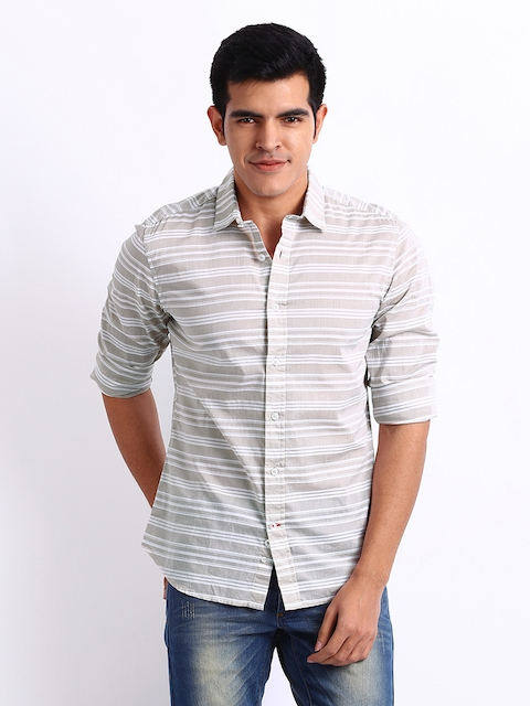 United Colors of Benetton Men Beige & White Striped Casual Shirt