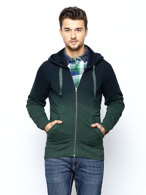 United Colors of Benetton Men Blue & Green Hooded Sweatshirt