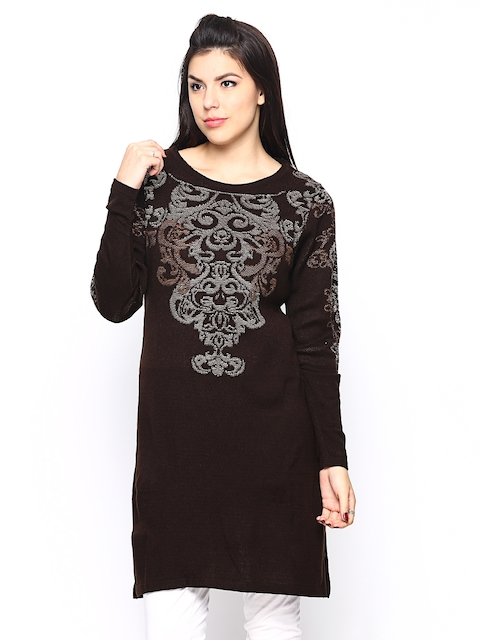 W Women Brown Winter Kurta