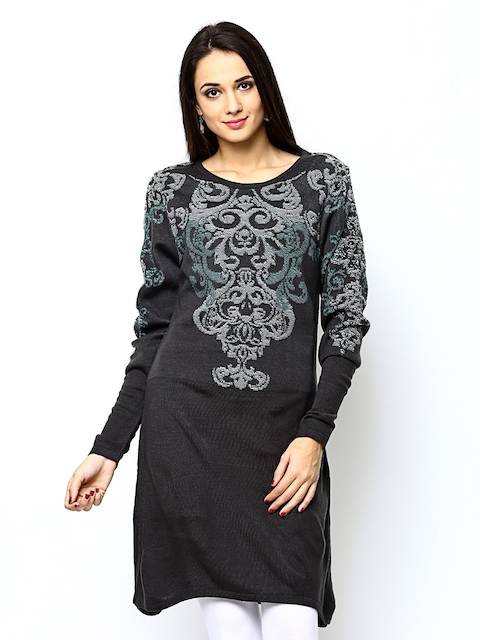 W Women Grey Winter Kurta