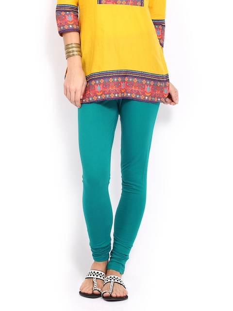W Women Teal Blue Churidar Leggings  available at myntra for Rs.599