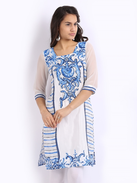 Wishful by W Women White & Blue Printed Kurta
