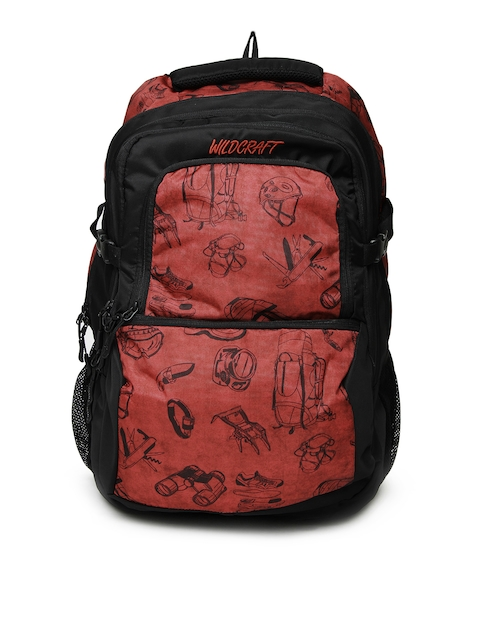 Wildcraft Unisex Black & Red Printed Yomp Backpack