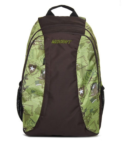 Wildcraft Unisex Green & Brown Printed Backpack