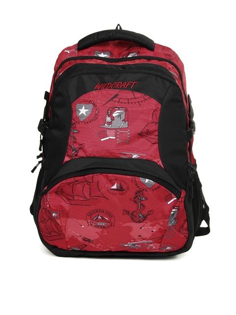 Wildcraft Unisex Red & Black Printed Backpack