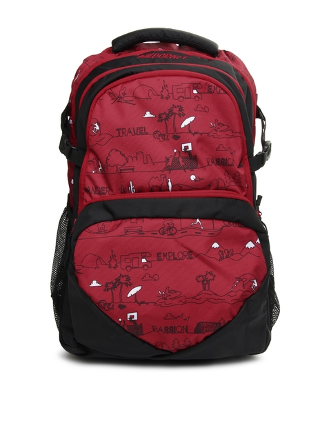 Wildcraft Unisex Red & Black Skate LD Printed Backpack  available at myntra for Rs.1677