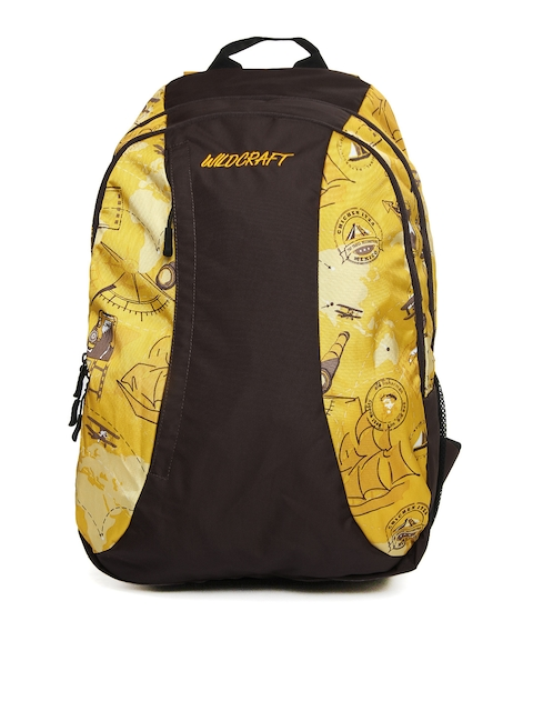Wildcraft Unisex Yellow & Brown Printed Backpack