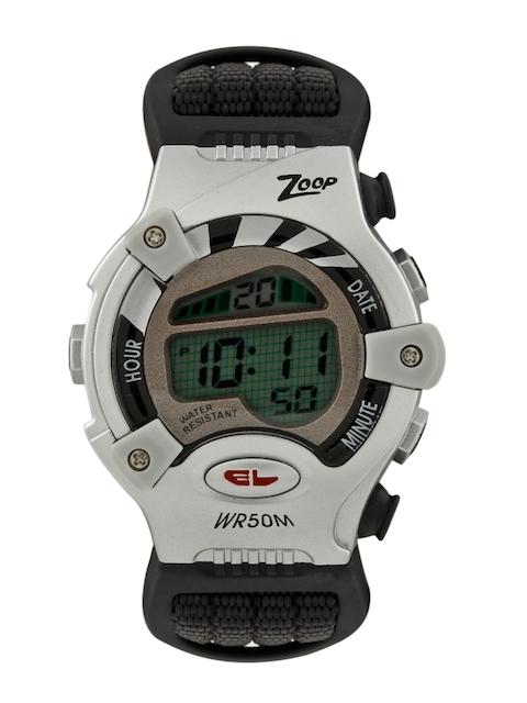 Zoop Kids Black & Silver Toned Digital Watch