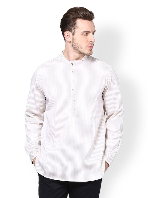 even Men Cream-Coloured Striped Kurta  available at myntra for Rs.440