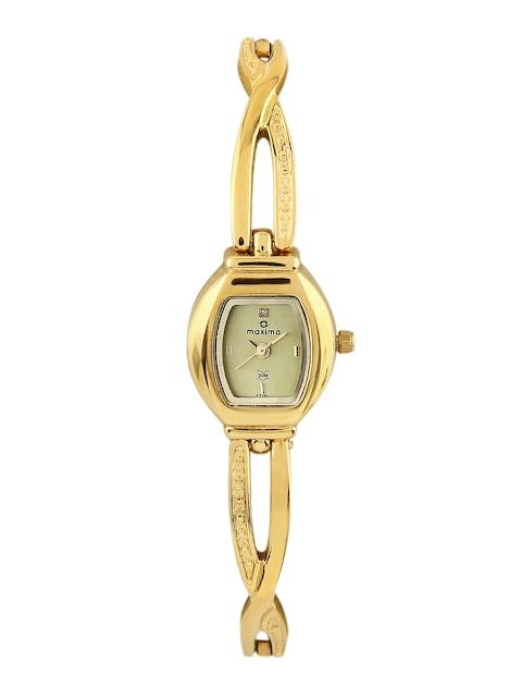 Maxima Women Gold Dial Watch