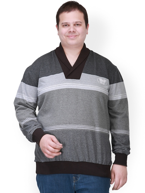 plusS Men Black & Grey Sweatshirt