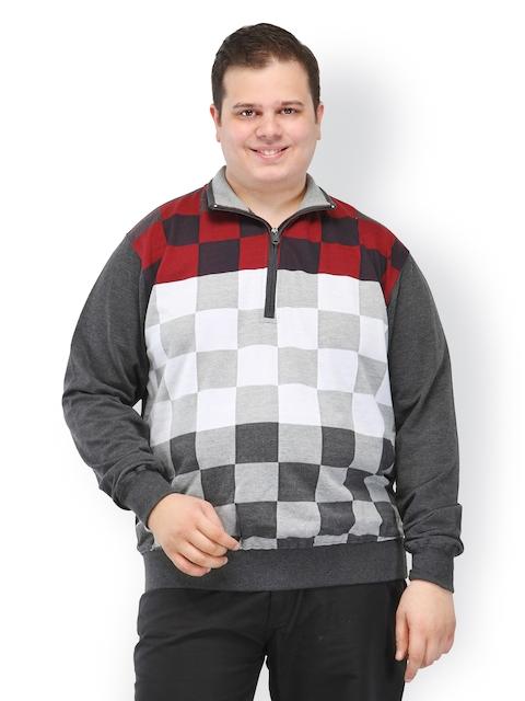 plusS Men Multicoloured Checked Sweatshirt