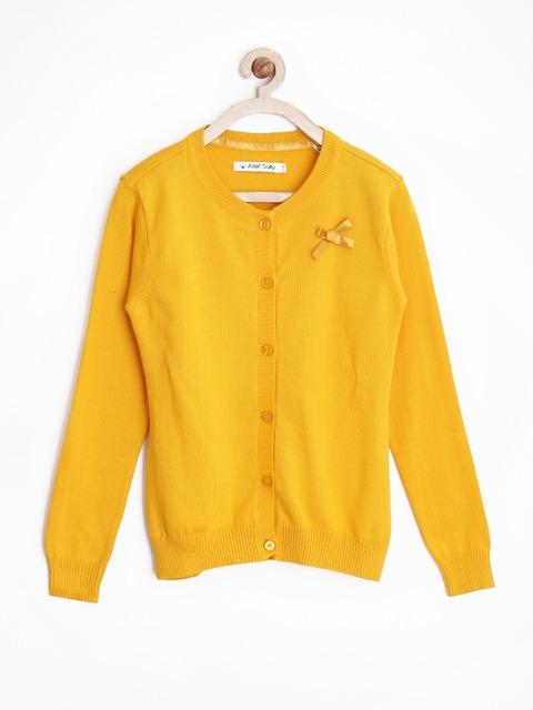 Buy Allen Solly Junior Girls Yellow Cardigan - Sweaters for Girls ...