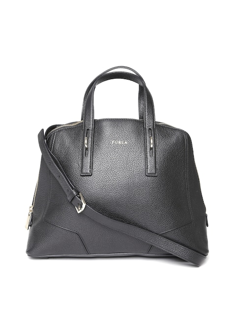 d98cec57e37b Buy Furla Black Textured Leather Handbag With Sling Strap - Handbags for  Women 1093579
