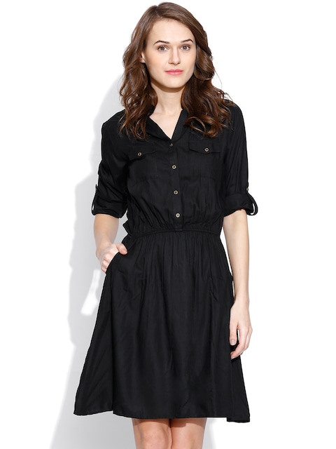 Buy Vaak Black Shirt Dress - Dresses for Women | Myntra