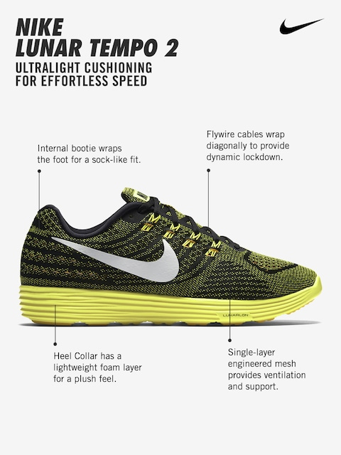 finest selection ea807 b26c3 ... Buy Nike Men Black   Yellow LunarTempo 2 Running Shoes - Sports Shoes  for Men ...