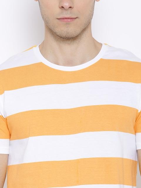 Buy United Colors Of Benetton Orange & White Striped T Shirt ...