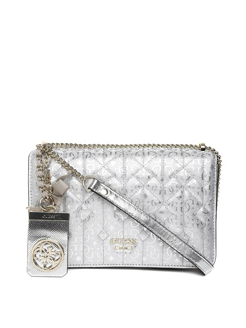 Buy GUESS Silver Toned Quilted Textured Logo Sling Bag - Handbags ...