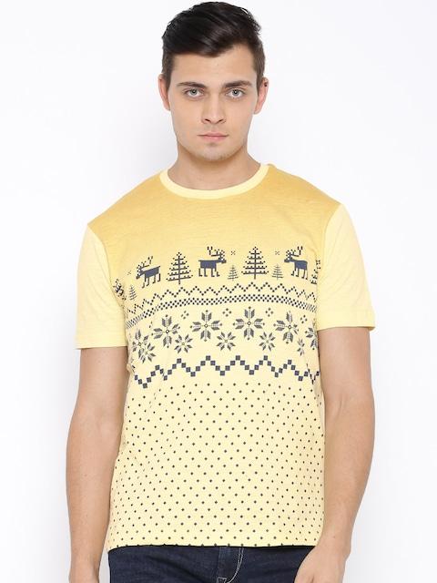 Buy Monte Carlo Yellow Fair Isle Print T Shirt - Tshirts for Men ...