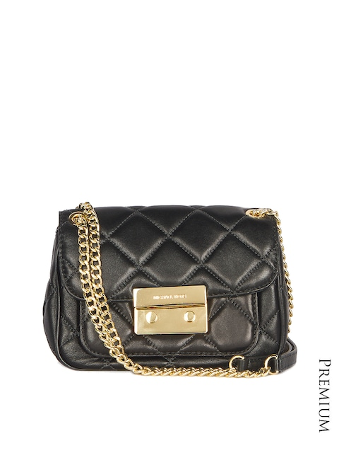 Michael Kors Black Quilted Leather Sling Bag Handbags For Women 1332585 Myntra