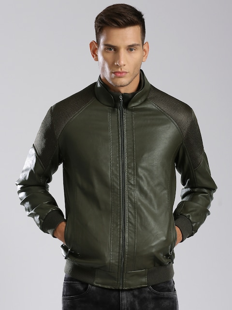 Buy HRX By Hrithik Roshan Olive Faux Leather Bomber Jacket ...