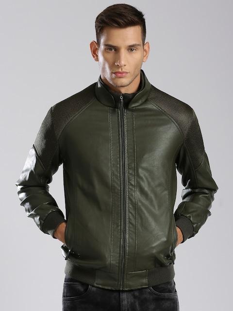 Buy HRX By Hrithik Roshan Olive Faux Leather Bomber Jacket ...