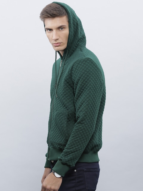 Buy Ether Men Green Quilted Hooded Jacket - Jackets for Men | Myntra