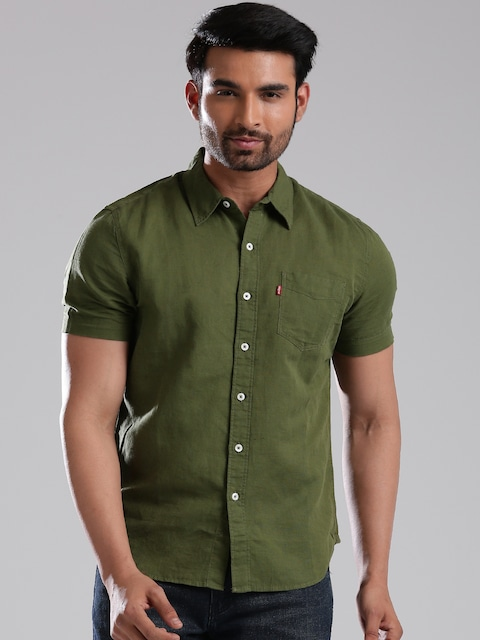 Olive Green Button Up Shirt Mens Sale Off64 Discounts