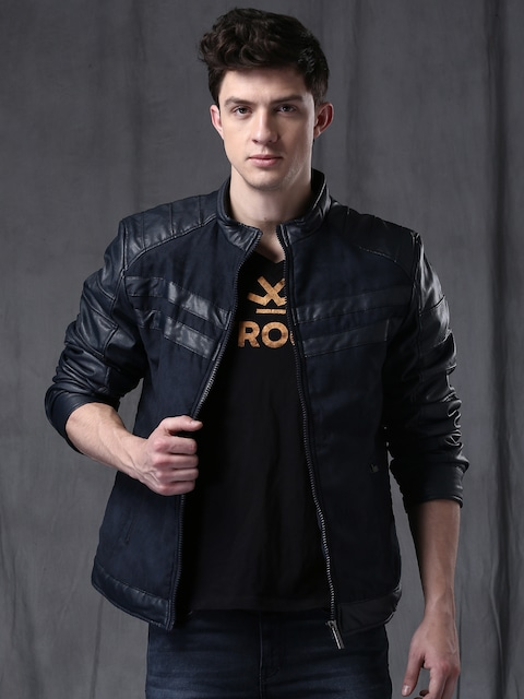 Buy Wrogn Navy Quilted Bomber Jacket Jackets For Men 1427585 Myntra