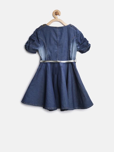 StyleStone Girls Blue Denim Wrap Dress thumbnail