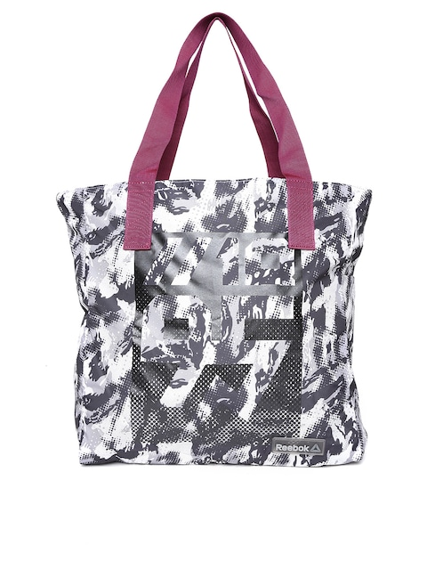 Reebok Grey Black Se W Lightweight Printed Oversized Training Tote Bag Handbags For Women 1491994 Myntra
