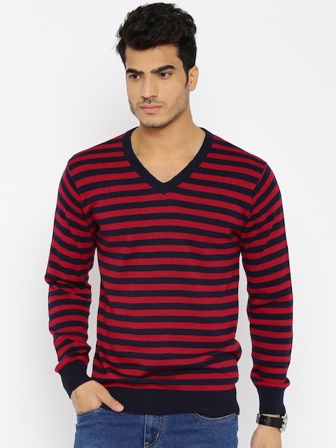 Buy People Men Navy & Red Striped Sweater - Sweaters for Men ...