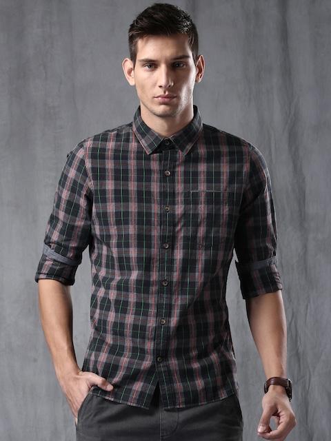 Buy WROGN Men Black & Grey Slim Fit Checked Casual Shirt - Shirts ...