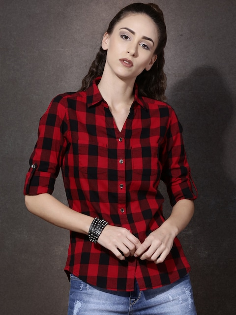 Buy Roadster Women Red & Black Regular Fit Checked Casual Shirt ...