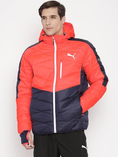 Buy PUMA Neon Orange & Navy Colourblocked Quilted Hooded Jacket ... : puma quilted jacket - Adamdwight.com