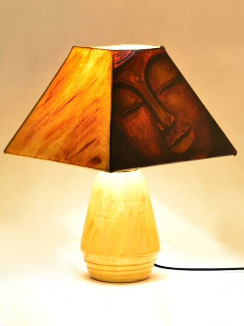 Buy exclusivelane brown yellow buddha hand painted terracotta lamp buy exclusivelane brown yellow buddha hand painted terracotta lamp with lamp shade lamps lanterns and lamp shades for unisex 1570669 myntra aloadofball Choice Image