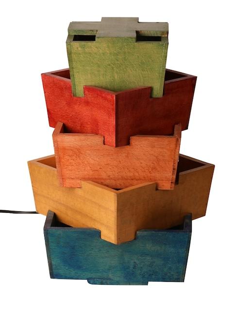 Multicoloured Wooden Lamp