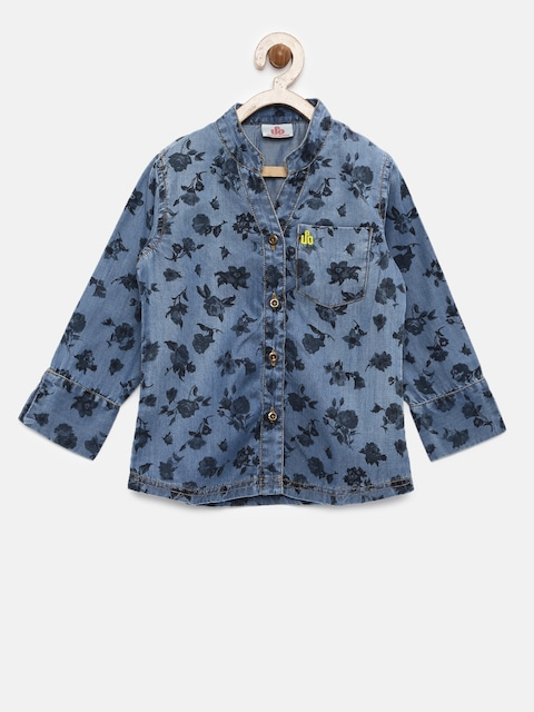 UFO Girls Blue Regular Fit Printed Casual Shirt thumbnail