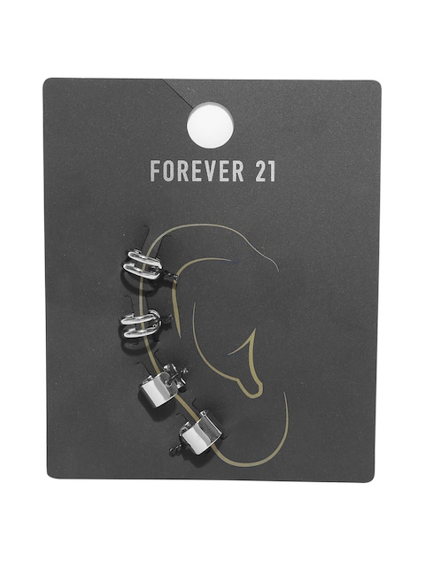 Forever 21 Set Of 2 Silver Toned Clip On Earrings For