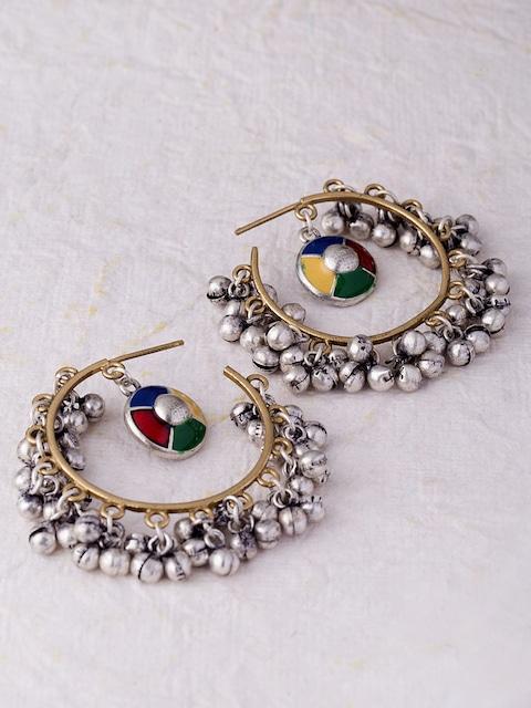 Studio Voylla Kutch Multicoloured Silver-Plated Hoop Earrings