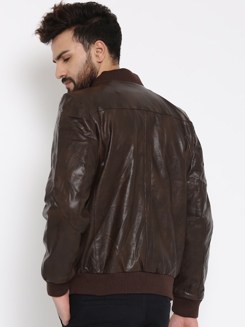 Buy SPYKAR Brown Perforated Faux Leather Bomber Jacket - Jackets ...