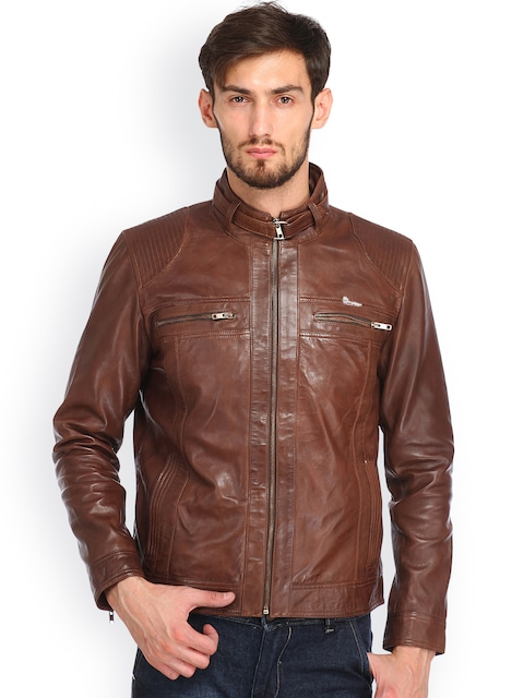 Buy Histeria Brown Leather Jacket - Jackets for Men   Myntra